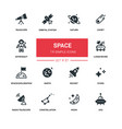 space concept - line design silhouette icons set vector image