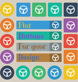 Steering wheel icon sign Set of twenty colored vector image