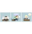 three businessmen in office vector image vector image