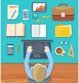 Top view of businessman on his workplace vector image