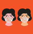 with women in medical masks who are in fear vector image vector image