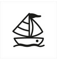 yacht icon in simple monochrome style vector image vector image