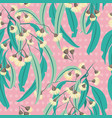 yellow eucalyptus blossom polka dots seamless vector image vector image