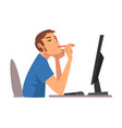 young man being bored with his job lazy employee vector image vector image