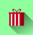 christmas gift icon with long shadow vector image