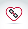 red heart with link symbol love relationship idea vector image