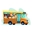 cartoon school bus full of happy kids vector image