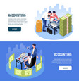 accounting isometric banners vector image vector image