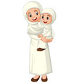 arab muslim mother and daughter in traditional vector image vector image