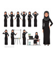 arab women character set of emotions arabian vector image