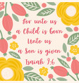 bible quote from isaiah about jesus for christmas vector image vector image