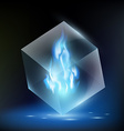 blue flame inside a glass cube vector image