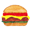 burger watercolors vector image vector image