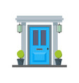 cartoon blue front door of house vector image vector image