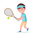 cartoon boy playing tennis vector image vector image