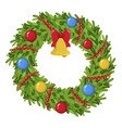 christmas wreath icon traditional holiday bright vector image