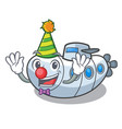 clown diving submarine in the mascot sea vector image