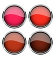 collection red glass buttons with chrome frame vector image