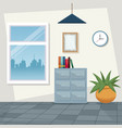color scene background workplace office design vector image vector image