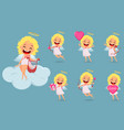 cupid girl cute cartoon character set vector image