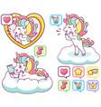 cute colorful happy unicorns sending messages vector image