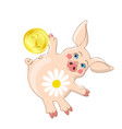 cute pink piglet moneybox with hug gesture vector image