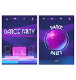 dance party flyers with disco ball and dj console vector image