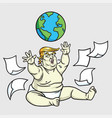 donald trump big baby playing globe messy papers vector image vector image