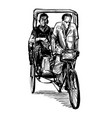 drawing tricycle in india vector image vector image