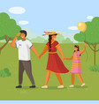 family together outdoors father mother with vector image vector image