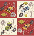 farm vehicles isometric concept vector image vector image