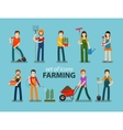 Farming and gardening icon set People at work on vector image