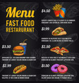 fast food menu sketch price menu food vector image vector image