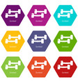 fitness dumbbell icons set 9 vector image