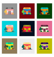 Flat assembly icons of shop sale