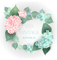 floral wedding card with blooming hydrangea vector image vector image