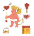 funny cartoon saint valentines day stickers vector image
