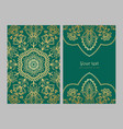 greeting card golden ethnic patterns on green vector image vector image