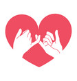 hand drawn pinky promise with heart shape vector image vector image