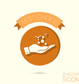 hand holding the atom molecule symbol icon of vector image