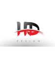 hd h d brush logo letters with red and black vector image vector image