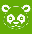 head of panda icon green vector image vector image