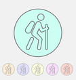 hiking treking icon icon flat web sign symbol logo vector image
