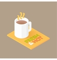 Hot coffee in white cup icon vector image vector image