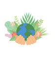 human hands holding earth planet save planet vector image