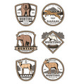 hunting club retro badges with african animals vector image vector image