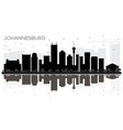 johannesburg south africa city skyline black and vector image vector image