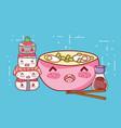 kawaii ramen soup sushi sake and chopsticks food vector image vector image
