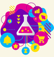 Laboratory flask on abstract colorful spotted vector image vector image