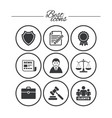 lawyer scales of justice icons auction hammer vector image